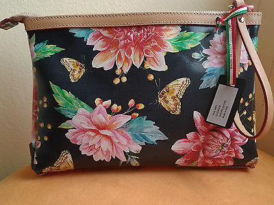 CAVALCANTI (Italy) 100%Leather Floral Large Wristlet   Clutch   Cosmetic  Bag NEW f94df2744f969