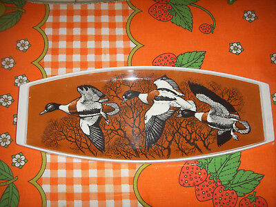 Vintage Praesidium Ornamin Melamine Tray Flying Mallard Ducks