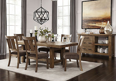 Modern Cottage Brown Dining Room Furniture 7pcs Rectangular Table Chairs Ic00