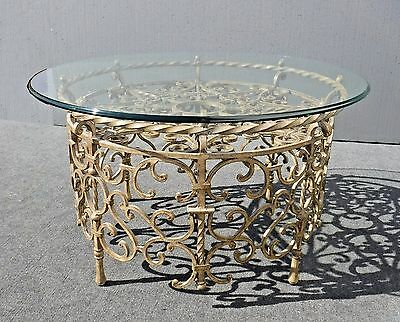Vintage Spanish Style Round Gold Wrought Iron & Glass Top Coffee Table