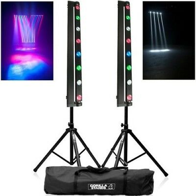 2x American DJ Sweeper Beam Quad LED Lighting Effects with Stands & Clamps