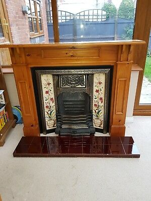 Victorian Cast Iron Fireplace withTiled Hearth and Pine Surround