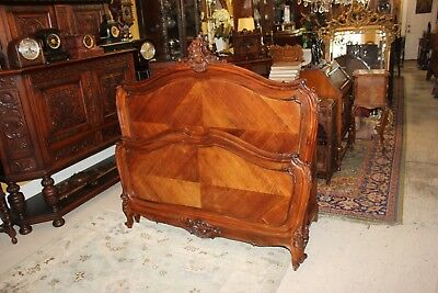 Antique French Solid Walnut Wood Louis XV Full Size Panel Bed Bedroom Furniture
