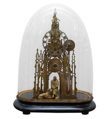 Rare Victorian Single Fusee Mantle Clock Sir Walter Scott & His Dog Maida Statue