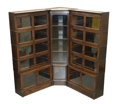Rare William Baker Co Oxford Stacking Corner Legal Library Bookcase Minty Global