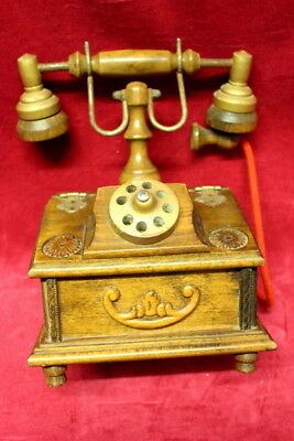 Antique french vintage wooden case desk telephone box jewelry box
