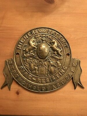 Antique Milners 212 Patent Fire Resisting Strong Holdfast Safe Cast Brass Plaque