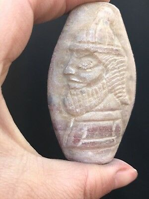 Bactrian Jasper Stone King Face Craved Very Rare Old Ancient Bead