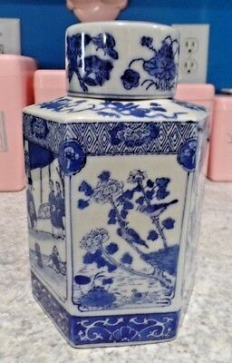 """Vintage Asian Ginger Jar Apothecary w Village Scenes Blue and White 6 sided 8"""""""