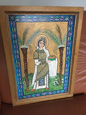 "Old Vintage Acrylic Painting of a Religious Saint, ""Procession Of Virgins"" 1970"