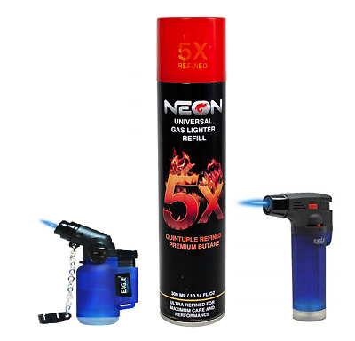 Big Torch, 45 Degree Small Eagle TORCH Lighter NEON 5X Butane Refill Fuel Fluid