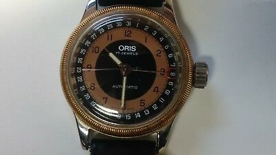 VERY RARE Black Dial ORIS Automatic Watch 7400 574 Pointer Date Big Crown