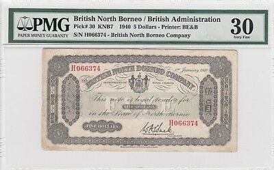 British North Borneo 5 dollars 1940 banknote