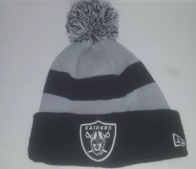 Oakland Raiders Pom Top Cuffed Beanie Knit Winter Cap Hat NFL Authentic New  Era fd95c519b24a