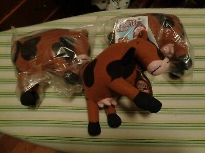 Three (3) Hershey's Syrup Cow Stuffed Toy Milk Candy Chocolate  New Old Stock