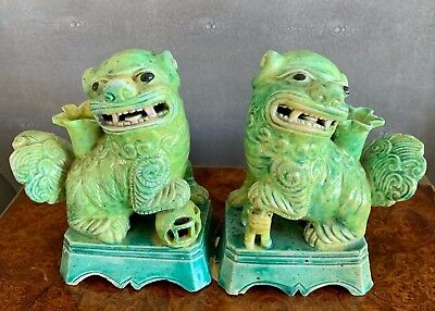 Rare Pair Of Apple Green, Antique Glazed Foo Dogs