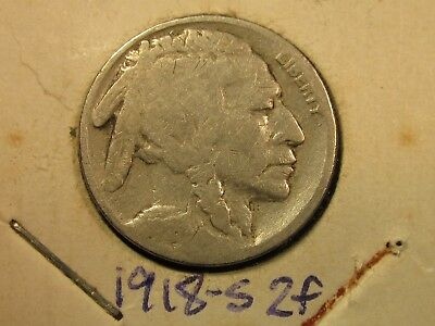 1918-S Buffalo Nickel 2 Feathers Variety AG G Good