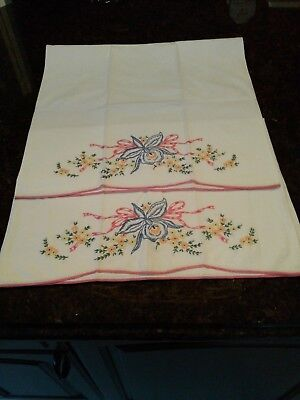 Pair of Vintage Embroidered and Crocheted Standard Size Pillowcases