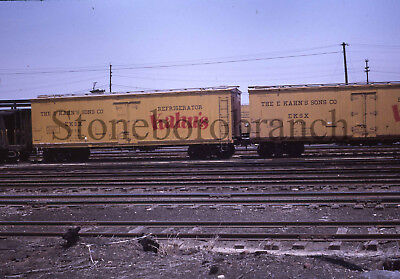 Original slide- KAHN'S wood side refrigerator cars; 5/1964