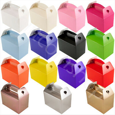 Plain Coloured Party Boxes Kids Childrens Birthday Favours Gift Food Lunch Box