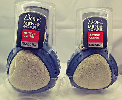 Dove Men + Care Active Clean Dual Sided Shower Tool 2 Pack Free Fast Shipping
