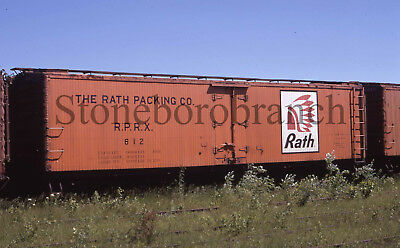 Original slide- RATH wood side refrigerator #612 @ Ashland WI; 7/4/1971