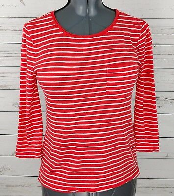 quality design innovative design high quality BANANA REPUBLIC WOMENS Orange White Top Small S Malibu Tee Striped 3/4  Sleeve