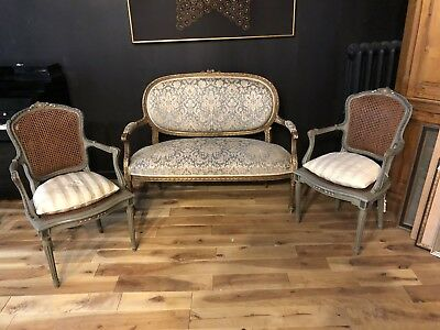 Louis 16 Antique French Gilded  Settee & Caned Chairs