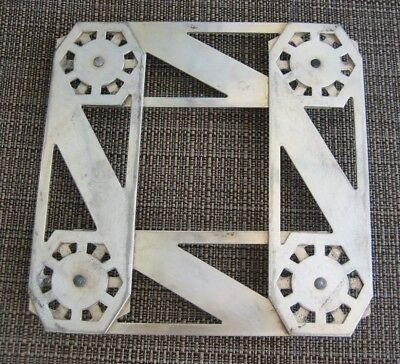 """Silverplate Trivet Kitchen Decor Square Metal Footed 6"""" Thick Heavy Collectible"""