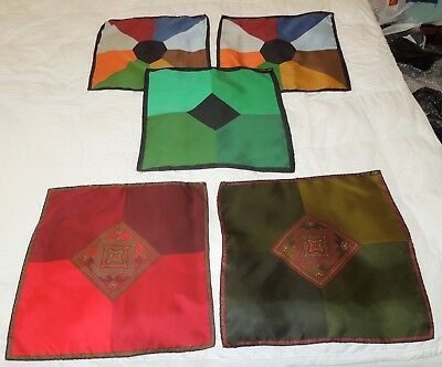 """Lot of 5 Vintage Men's ASHEAR Italy 100% Silk Hand Rolled 18"""" Square Scarves"""