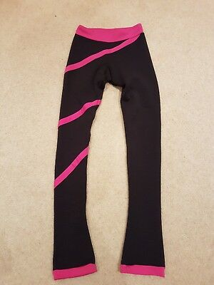 Chloe Noel ice skating leggings black with Fuchsia spiral size 11-12 years