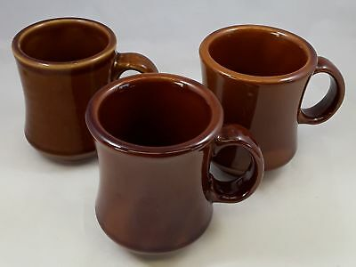 Lot of 3 Vintage Mahogany Brown REGO Coffee Mugs Restaurant Ware Lustrous Shiny