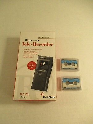 Microcassette Voice Activated Tele Phone Recorder Radio Shack TRC-300 +Batt Tape