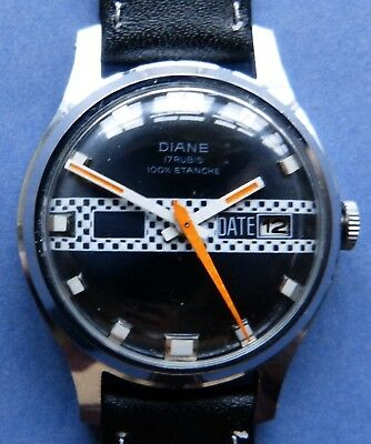 EXCELLENT DIANE Motorsport Themed 17 Jewel CP/SS mens watch + new strap1960s