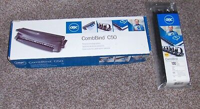 "GBC COMBBIND C50 Binder + (25- 3/8"") + (50- 1/4"") Black Combs/Spines Included"