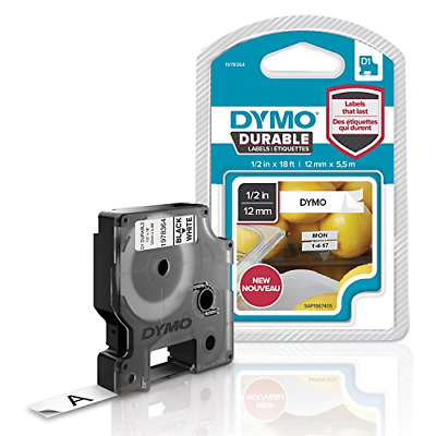 DYMO D1 Durable Labeling Tape for LabelManager Label Makers, Black Print on 12 x