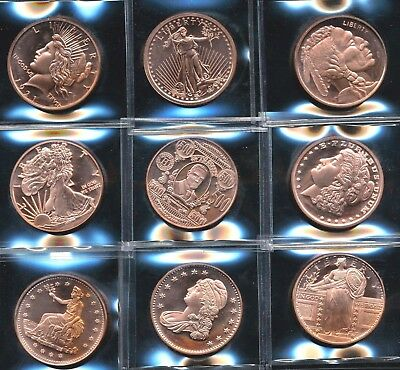 (9) Assorted 1 oz AVDP Ounce 999 FINE Copper Round Specimen Bullion