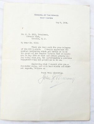 John J. Pershing, American General of the Armies, signed letter  No reserve