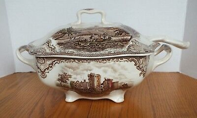JOHNSON BROS OLD BRITAIN CASTLES SOUP TUREEN with Ladle