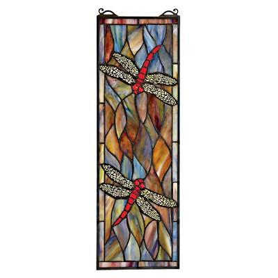 """21"""" Stained Glass Rectangular Dragon wings Window Panel"""