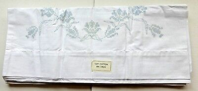 Pair Of Vintage NEW Pillowcases DIY Stitch/Embroider Flowers & Leaf 100% Cotton