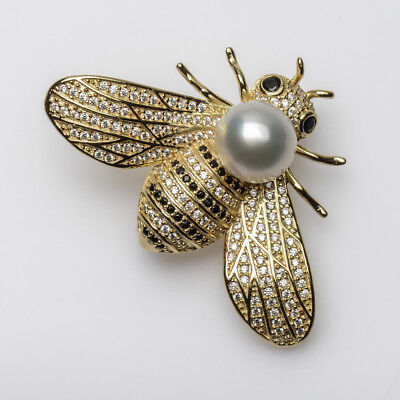 """Vivid White South Sea Cultured Pearl Bee Brooch Pin 925 Sterling Silver 1.8"""""""