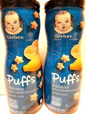 2 Gerber Graduates Puffs Cereal Banana Snack Baby's First Finger Food 8 Month +