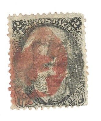 Scott 87 Early US Stamp 2c Jackson ...1867..Deep Red Cancel   E Grill