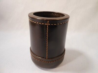 "VTG STITCHED LEATHER BROWN DICE CUP W/ TRIP LIP CASINO GAMBLING 3 3/4"" Tall"