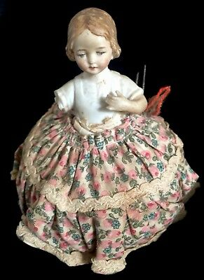 Antique Pincushion Doll Sewing Hand Painted Bisque