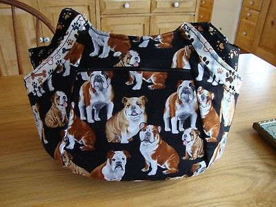 Womens Purse Handbag Tote Shoulder Bag Bulldog Print Black White Brown Nice!