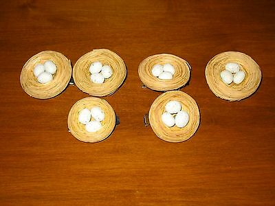 6 Vtg Bird Nest with 3 Eggs Easter CLIP ON Tree Ornament Spring 6 Lot  NEW Rare