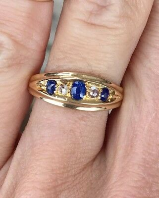 Antique Vintage Old Mine Cut Sapphire Rose Cut Diamond 18K Victorian Ring Band