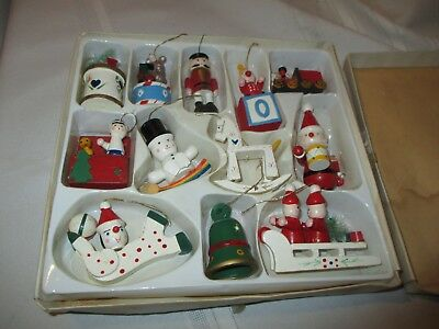 12 Vintage Wood Christmas Ornaments Hand Painted.Christmas Around the World.